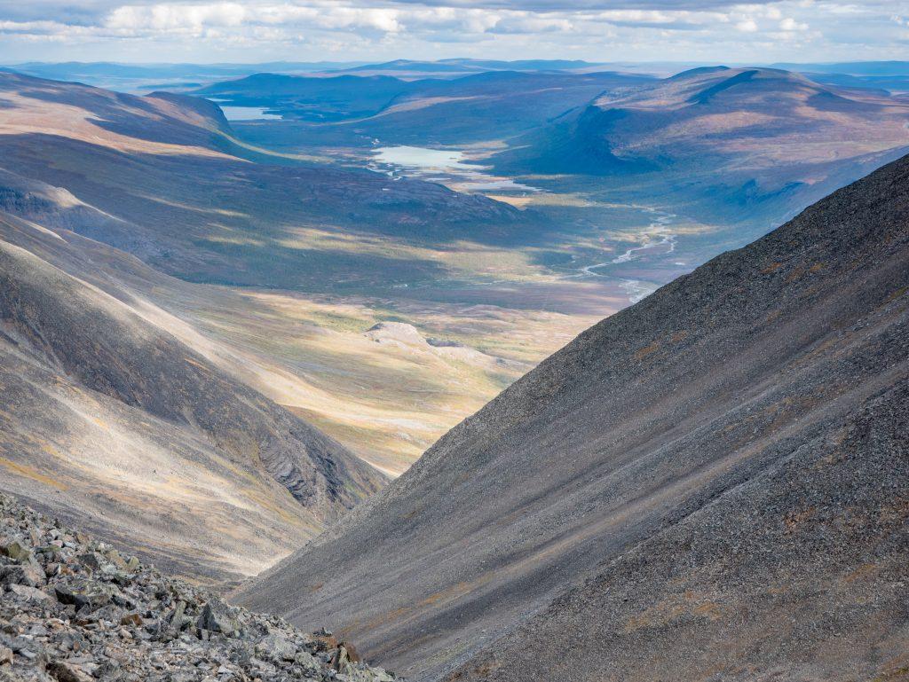 Utsikt från Vierranvárri på västra leden mot Kebnekaises sydtopp
